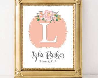 Personalized nursery art baby girl nursery baby wall decor personalized baby peach gray nursery peach mint nursery custom name print