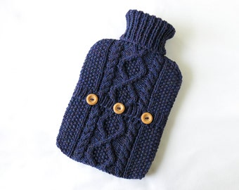 Hot water bottle cover / sweater - 100 per cent wool - Blueberry. Hand Knit Bottle Cosy / Cozy.