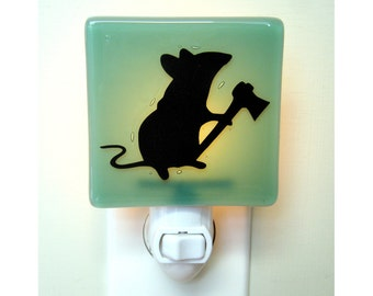 Funny Mouse Night Light - Hand Painted Fused Glass