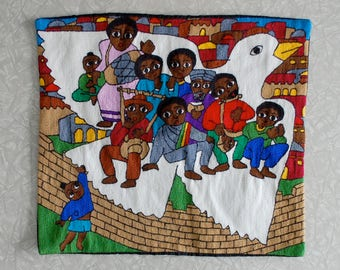 ethiopian pillow cover, handmade embroidered pillow sham, african jewish folk art, traditional craft, biblical dove design, brightly colored