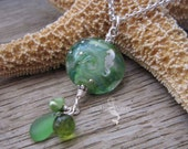WAVE - Pale Green Seahorse Sea Glass Necklace - Artisan Glass Lampwork Jewelry with Sea Glass, pearls and Gemstones