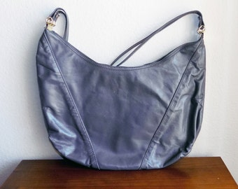 Vintage Thundercloud Gray Faux Leather Hobo