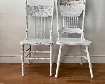 Vintage wood rustic dining chairs set 2