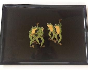 Couroc of Monterey Rectangular Tray, Dancing Frogs Serving Platter, Vintage Tray, Retro Housewares