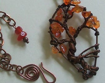 Antiqued Copper Unique Tree of Life with Carnelian Chips by Carol Wilson of       Je t'adorn