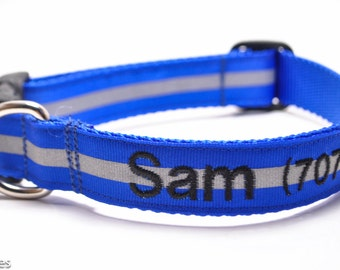 Personalized Reflective Dog Collar / Buckle or Martingale / 6 Colors