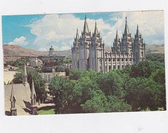 Vintage 1969 post card temple square & state capitol  Salt Lake City, Utah