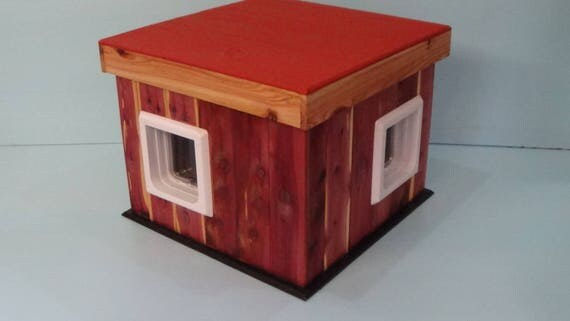 Heated Cedar Outdoor  Cat House/2 Doors (Ships Next Bus. Day), shelter,condo,feral,insulated,tube,cabin