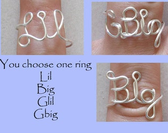 GBig, Big and Little Rings, Wire Word Ring Wire Word Ring Big and Lil Sorority Wire Word Rings Adjustable Personalized Color