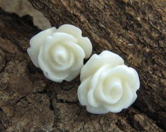 Rose Stud Earrings Cream Rose Earrings Rosebud Earrings Hypoallergenic Studs Surgical Steel Stud Earrings