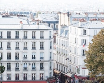 Paris Photography, Montmartre view of Parisian rooftops, soft blue and grey tones,Paris, French Wall Decor, Photo of Paris from above