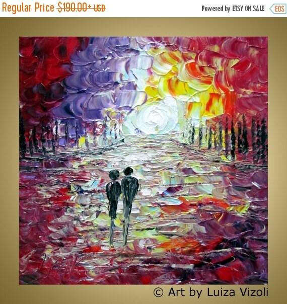 Moon ROMANCE Original Landscape Trees Palette Impasto Oil Painting on Canvas Wall Decor by Luiza Vizoli custom
