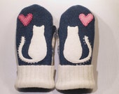 RESERVED FOR SUSAN Cat Mittens Felted Sweater Dark Blue and White Cat Applique Leather Palm Fleece Lining Eco Friendly Size S/M