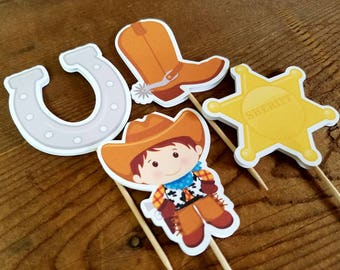Little Cowboy Party - Set of 12 Assorted Cowboy Cupcake Toppers by The Birthday House