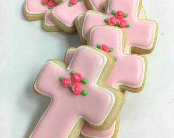 BAPTISM CROSS COOKIES, 12 Decorated Sugar Cookie Favors