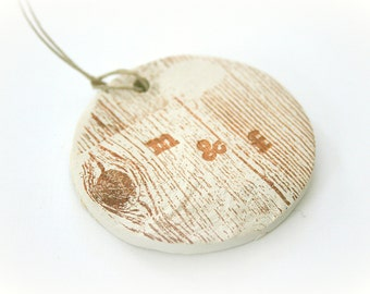 Ceramic Monogram Tags - 100 Personalized Clay Tags - Natural Rustic Stamped Wood Grain Decorations - Wedding Favors - Anniversary - Showers