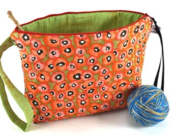 Large Knitting Crochet Project Bag Clutch *With Yarn Guide* - Valencia