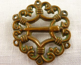 Antique Brass Decorative Element Brooch with Verdigris and Makers Mark