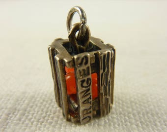 Vintage Danecraft Sterling Crate of Oranges Charm