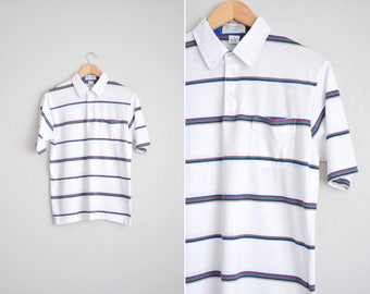 Size M // STRIPED POLO SHIRT // White - Short Sleeve - Collar - Preppy - Minimalist - Vintage '80s.