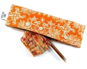 Stitch Holder Point Protector Zipper Pouch Needle Nook - DPN and Circular Project Holder -  Sunshine Paisley