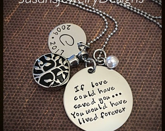 Tree of Life Urn Necklace - stainless steel 1 sided discs & tree cremation urn and chain - Swarovski crystal - custom wording available
