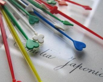 24 Vintage Toothpicks ~Set Plastic Card Suit Toothpix * Clubs Diamonds, Hearts, Spade * Hickory Farms  * Adult Party * Drinks / Food Picks