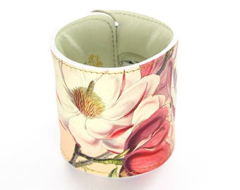 Leather Cuff Wallet / Purse also with Contactless Payment Chip - Pink Floral Magnolia Print