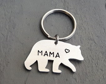 Mama Bear Key Chain // Bear Keychain // Hand Stamped // Custom // Gift for Her // Gift for Mom // Mother's Day // New Mom