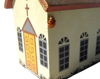 Wood Block Hand Painted Church, Fireplace Mantle Décor, Table Top Decoration, Vintage Wood Block Toy, Doll Village,