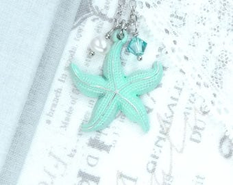Green Ocean Necklace Starfish Pendant Necklace Green Beach Necklace Starfish Jewelry