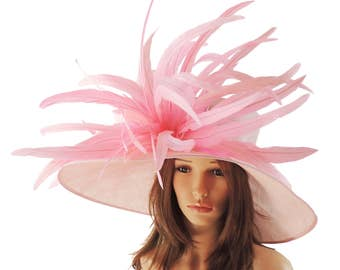 Gorgeous Candy Pink Woodpecker Hat for Kentucky Derby, Weddings (40 colours available)