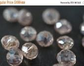 WINTER GEM SALE Czech Glass Faceted Ab Light Peach Rondelle Beads - 6mmx5mm - 15 pcs