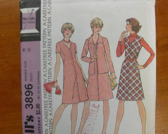 vintage 1960's McCall's 3896 dress jacket sewing pattern