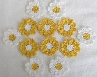 Crochet Flowers, White, Yellow, Embellishments, Appliques-  set of 12