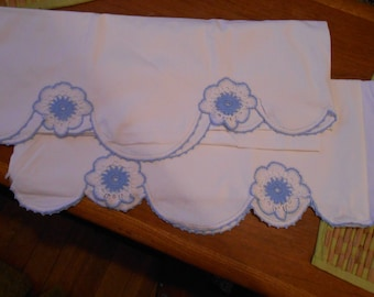 Set of vintage crocheted blue pillowcases