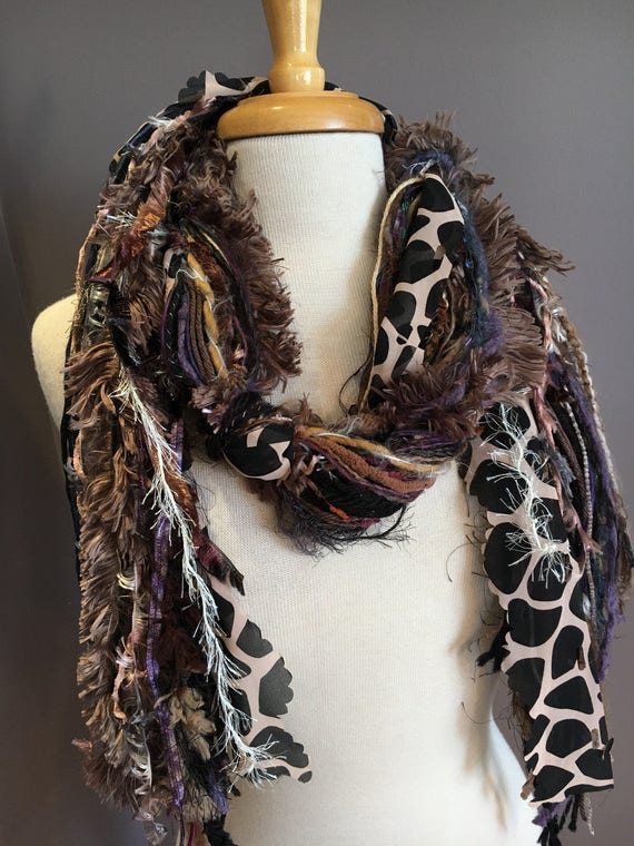 Fringie in Taupe Giraffe, Handmade tied scarf, photo prop in navy, brown, green, fringe scarves, boho gifts, animal print scarves, tribal