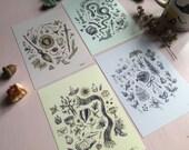 Hogwarts House set of four 5x7 art prints