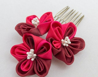 Red Blossom, Silk Flowers, Hair Accessory, Hair Comb, Japanese, Tsumami Kanzashi Silk Flowers