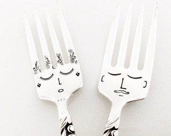 His & hers hand stamped fork faces series. Custom handles. Vintage silver plate set. Mr | Mrs. Bride Groom. I do Me too. Unique wedding gift