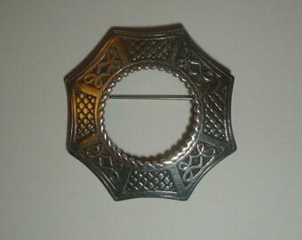 Silver brooch sterling kilt sash Celtic Scottish hallmarked Edinburgh 1960? vintage