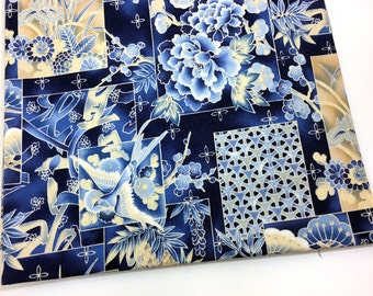 Blue Kaufman Imperial Collection Cotton Fabric, 1 1/2 yards - 54 inches - Birds Asian Fabric, Floral Oriental Fabric, Quiltsy Destash
