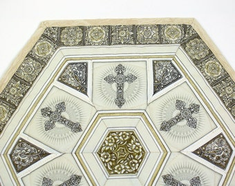 Religious Quilted Table Topper, Tan and White Crosses Candle Mat, Dan Morris Heavenly Fabric, Easter Hexagon Table Runner Quilt, Centerpiece