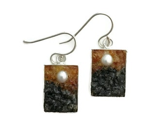 Mosaic Earrings - Pearl, Amber, Carnelian and Labradorite