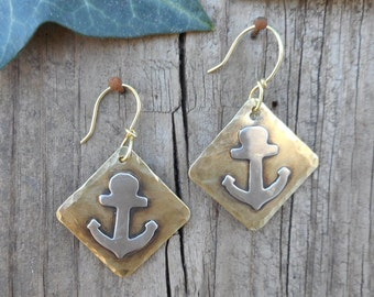 Silver anchor dangles, anchor earrings, anchor jewelry, nautical jewelry, mixed metal jewelry,goldandsilver anchors,cruise earrings, natural