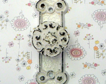 Floral Fleur Ornate Swirl Knob Backplate Cast Iron Pull Cabinet Drawer Pull Shabby Style Chic Classic White French Paris Do It Youself DIY