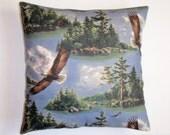 "Handmade Throw Pillow Cover, Soaring Eagles Throw Pillow Cover, VINTAGE Fabric - Mancave Pillow Cover, Americana Home Decor, 16x16"" Pillow"