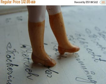 ON SALE One Pair of Antique Bisque Hand Painted German Doll Legs