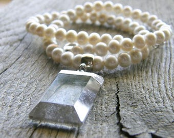 Pearl and Crystal Quartz Pendant Necklace