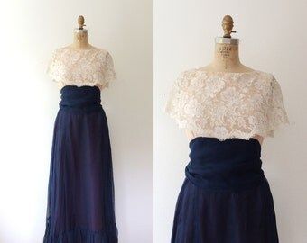 Victor Costa dress / lace evening dress / Night Bloom dress